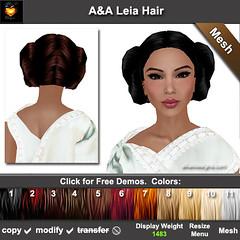 A&A Leia Hair Color Chart-pic (Allison Selene) Tags: kirsten leia womenshairstyles womensupdohairstyles meshhairtyles