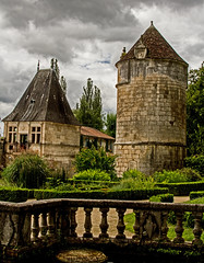 view from the abbot's garden (PDKImages) Tags: old windows france church monochrome beauty abbey architecture ginger curves bordeaux shutters balconies stemillion brantome