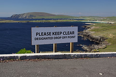 Drop Off Point! (Martin Third) Tags: sea cliff sign coast scotland unitedkingdom humour signpost atlanticocean shetland sumburghhead sumburgh westvoe shetlandislands