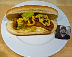 Sriracha Chicken Sausage on a Bun with Vintage Photo Booth Photo (ricko) Tags: food me cheese lunch photo sausage plate mustard condiments bun photoboothphoto srirachachickensausage