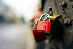 Bokeh of Berlin - Part I (Bokehschtig (back, but catching up slowly)) Tags: lock lovelock bridge berlin bokeh dof red redlock heart love friedrichsstrase sony a7 sonya7 fe35f14z 35mm f14