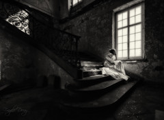 Sitting on the steps of my stairs (Fragile Decay) Tags: stairs steps chateau abandoned forbidden forgotten empty dress light fragile decay absoluteblackandwhite alwaysexcellent