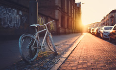 I was waiting for you (Adrian-D.) Tags: street city sunset summer urban sun berlin art cars bike bicycle stone architecture backlight vintage concrete sonnenuntergang bokeh sommer stadt sonne fahrrad gegenlicht lensfare sigma35mm