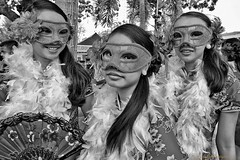 Masked (FimRay) Tags: girls people blackandwhite white black girl monochrome face wearing asian thailand person asia mask young chinesenewyear monotone wear thai persons masked youngsters eyemask traditionalstreet