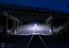 Steel Wool (B-Sharp Photography) Tags: steel wool sparks night longexposure underpass bridge railroad