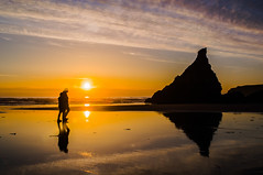 Skywalk (intrazome) Tags: ocean sunset sea sun reflection nature water weather rock clouds landscape nikon couple cornwall sigma cliffs sigma1770 d5100