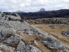 Sutherland - Achmelvich Bay - looking east towards Canisp (left) and Suilven (right) (bellrockman2011) Tags: sutherland westerross suilven assynt benmorecoigach canisp achmelvichbay
