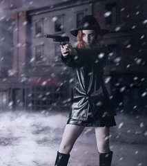 First Contract (violscraper) Tags: street winter snow hat night gun shoot fedora hitter mjranum