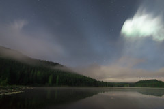 Lake Light II (erika eve) Tags: sky lake mountains water night afterdark trilliumlake mthoodnationalforest