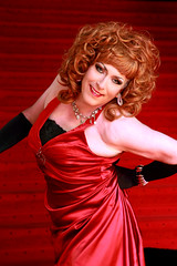 Red on the red carpet (Gloria Vulcano) Tags: silk crossdressing transgender transvestite makeover dragqueen diva crossdresser crossdress metamorphosis travestie