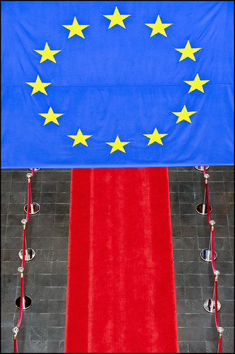 Red carpet under EU flag