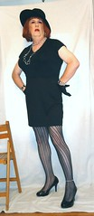 6-18-1 (prettysissydani) Tags: black hat tshirt tights skirt crossdressing redhead gloves mysexylegs