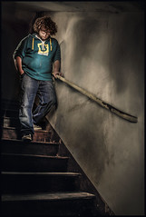 Stairs (Leonardo Marson Photography) Tags: light portrait scale stairs vintage dark shadows absurd ombre curly ritratto luce element buio obscure vecchio oscuro riccio elemento assurdo