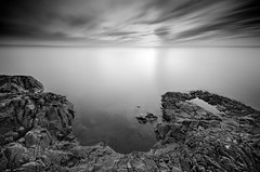 Silver Sunset (Bryan O'Toole) Tags: longexposure sunset bw ontario canada landscape blackwhite nikon scenic soo lakesuperior saultstemarie northernontario waterscape northchannel algoma groscap singhray leefilters princetownship singhrayfilters groscapbluffs nikond7000 leebigstopper nikkorafs1024mm