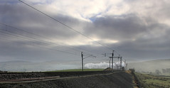 Under the wires. (MickyB1949) Tags: winter clouds train landscape jubilee lakedistrict cumbria leander shap westcoastmainline wcml 5690 44871 cumbrianmountainexpress railwaytouringcompany 30december2010