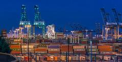 Cranes and Cargo (riots100) Tags: california unitedstates cranes shipyard sanpedro nightscapes shippingcontainers portoflosangeles