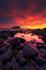Minnamurra - Stack Island Sunrise (stevoarnold) Tags: ocean red sea sky mountain seascape clouds sunrise rocks day purple cloudy australia nsw newsouthwales minnamurra illawarra minnamurrariver