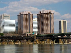 Richmond skyline (SchuminWeb) Tags: road plaza trestle bridge sky tower water lines skyline buildings river t james virginia march high track ben district web towers norfolk tracks bridges skylines twin rail front structure richmond line southern va transportation highrise infrastructure belle twintowers riverfront roads rise isle infra structural rises highrises railroads rva csx trestles 2013 riverfrontplaza infrastructural schumin schuminweb