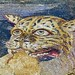 Tiger head - floor mosaic detail, House of Dionysos, Island of Delos, Greece
