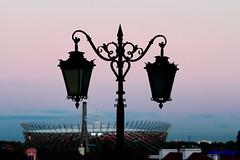 IMG_0724 (Rambonp love's all creatures of Universe.) Tags: blue sunset red landscape evening twilight europe stadium poland polska hanging oldtown flowerspot dimness waesaw