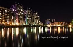 Detroit Bridge and Apartments Nightscape (Glyn Owen Photography & Image-Art) Tags: bridge england docks reflections manchester canal detroit lancashire olympics salford quays waterscape