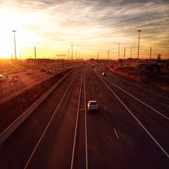 Morning traffic (Richard Pilon) Tags: morning november urban sun ontario canada sunrise highway traffic transportation mississauga 403 iphone iphoneography hipstamatic
