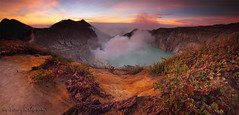 THE PANORAMA OF IJEN CRATER (ManButur PHOTOGRAPHY) Tags: sunset panorama cloud mist mountain nature clouds canon indonesia eos nationalpark colorful exposure pano smoke explorer explore highland crater caldera 7d sulfur efs hitech miner cpl contras eastasia colourfull canonefs1022mmf3545usm ijen canon7d easasia idjen manbutur manbuturphotography