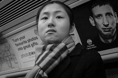 Stare (DonStevie) Tags: china street leica girls london love girl underground lights eyes asia candid tube chinese stare asiangirl chinesegirl leicasummicron50mmf20iii leicasummicron50mm streetphotographylondon leicammonochrom leicacameraagmmonochrom leicamonochromlove