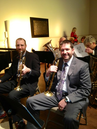 <p>Brandon Gabbard l and Greg Gemeinhardt and the Trinity brass choir</p>