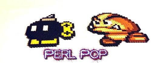Perler Mario Bobomb Goomba Pixel Art Bead Sprite 2 A Photo