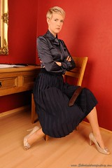 THE STRICT GOVERNESS (properpleats21) Tags: strap spanking pleatedskirt governess christianlady bowtieblouse spankingwhip