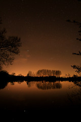 Tainted Skies (JW.Andrews) Tags: uk longexposure nightphotography england sky lake reflection nature night landscape skies nightscape astro nighttime astrophotography pollution oxford tainted oxfordshire lightpollution witney waterscape