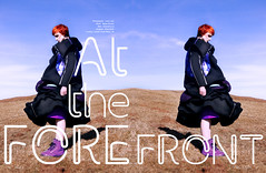 'At the Forefront.' (Laura Jane Harding) Tags: blue sunlight mountain reflection fashion magazine landscape countryside model graphic redhead editorial avant garde feature harsh kooky