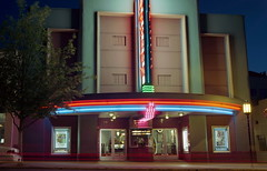 Varsity Theater (ASHLANDJET) Tags: longexposure 120 film night oregon analog mediumformat neon kodak voigtlander vintagecamera 6x9 neonsign ashland varsitytheater portra400 bessaii vintagefolder
