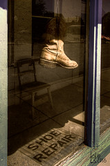 Shoe Repair (Warren06) Tags: street shadow sun newmexico window sign retail fix store shoes desert boots repair storefront trade silvercity