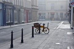 Bicycle (Nige H (Thanks for 4.8m views)) Tags: city mist bicycle bath cityscape citycentre emptystreet