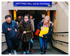 NOTTING HILL (karl from perivale) Tags: uk england people man london station sign stairs rush mobilephone gb londonunderground nottinghill younglady