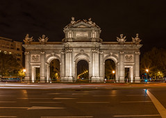 Miral, la puerta de Alcal (TravelJournals) Tags: madrid longexposure monument architecture night lights spain gate puertadealcala