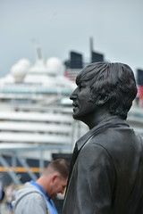 Lennon Takes It in (18mm & Other Stuff) Tags: england liverpool nikon statues cruiseship gb johnlennon thebeatles d7200 pierheaduk