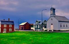 Stykkisholmur - town of 1000 islands (amee@work) Tags: day2 church town iceland high dynamic may roadtrip fujifilm quaint peninsula range hdr 2016 snaefellsnes stykkisholmur x100t