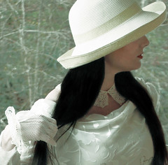 Private Thoughts (coollessons2004(almost completely off)) Tags: portrait woman white beauty hat poetry dress whitebirch eoshe krystalsmith