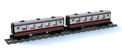 EN coaches in dark red & white (6x32) (bluerender) (wes_turngrate) Tags: car night coach carriage lego emerald moc