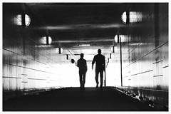 Silhouetten. (HansEckart) Tags: people blackandwhite tunnel sw kontrast kunstlicht tiefenschrfe silhouetten schwarzundweis