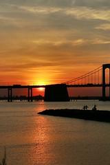 NYC Twilight (LisaGoNYC) Tags: nyc newyorkcity bridge sunset gold golden bluewater bluesky gilded sunnyday settingsun throgsneckbridge niceday littlebaypark
