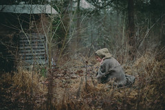 If timing is everything (gianteyephotography) Tags: wool overgrown female forest garden sticks model rustic shed pasture hood conceptual timeless