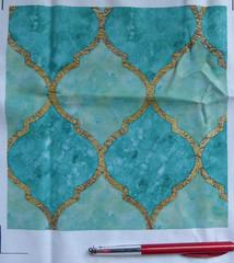 Turquoise Quatrefoil - Large (Marble Mountain Media) Tags: gold arabic fabric material lattice moroccan quatrefoil