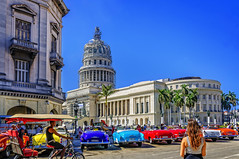 Catching a Vintage Taxi in Havana (danielacon15) Tags: street old city travel blue sky urban woman car architecture vintage outdoors photography colorful day vibrant tricycle havana cuba young sunny el capitolio 2016 aspect havanatour