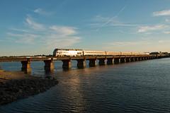 Golden hour on the Fore River (jc_canon) Tags: bridge heritage train portlandmaine passenger railroadbridge goldenhour downeaster passengertrain 695 foreriver p42dc amtrakheritage amtrak184 phaseivheritage amtrak695 downeaster695