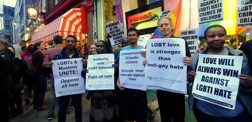 LGBT love is stronger than anti-gay hate - Peter Tatchell and other activists at London's vigil in memory of the victims of the Orlando gay nightclub terror attack.