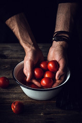 Man washing tomatoes (Arx0nt.) Tags: red summer food white man home cooking nature wet water beautiful vertical fruit dark countryside vegan hands rustic harvest cook naturallight bowl vegetable dirty chef vegetarian heirloom lowkey washing healthyfood brutal selectivefocus nutrient